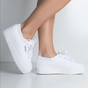 💙Superga white wedge lace sneakers